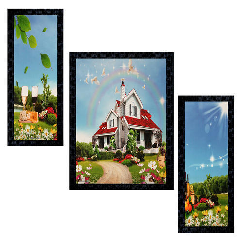 Set Of 3 Modern Art House Scenery Framed Wall Painting Ptu578