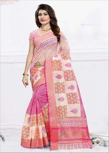 824486c6020 Printed Daily Wear Cotton Silk Saree With Blouse
