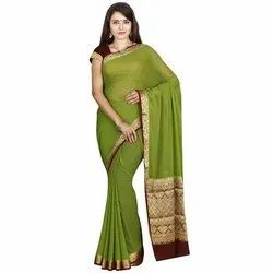 Printed Green Crepe Silk Sarees, 6.3 M (with Blouse Piece), Machine Made