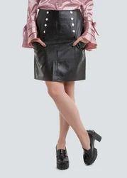 Black Short Trendy Leather Mini Skirt