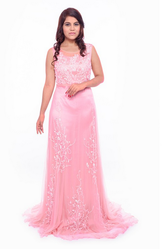 Western Pink Pure Satin With Net Evening Gown