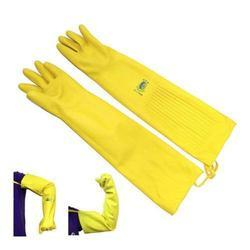 Flock Lined Long Sleeves Rubber Gloves, Size: Medium, Large & XL