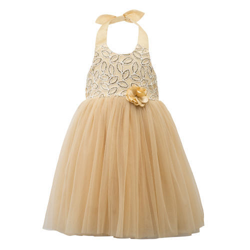 61445545aa43 2-3 To 7-8 Years Gold Halter Kids Girls Party Dress