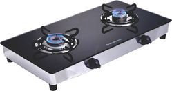 Black Two Burner Glass Top LPG Stove (Regular), For Kitchen, Size: L700 X B360 X H60 Mm