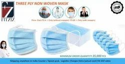 Fitziz 3 Ply Non-Woven Disposable Face Mask With/Without Nose Pin
