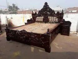 Teak Wood Antique Rosewood Maharaja Royal Wooden Bed