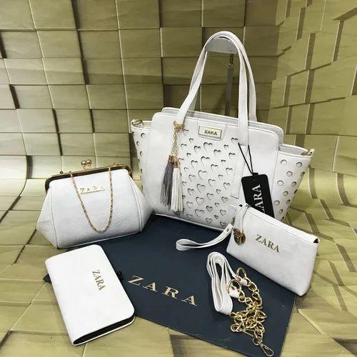 288ae1b8c47 Zara White Ladies Bag Combo