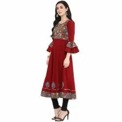 Yash Gallery Womens Cotton Patch Work Anarkali Kurta