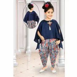 Girls Designer Top With Dhoti Set