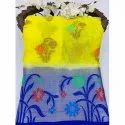 Casual Wear Blue And Yellow Ladies Tussar Georgette Saree, 6 M (with Blouse Piece)