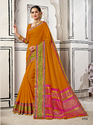 Awesome Orange Colored Party Wear Chanderi Cotton Saree with Blouse Piece
