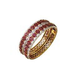 Diamond Ruby Gold Bangle Pair