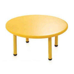 Yellow Round Plastic Table, Size: 43.3 x 20 inch