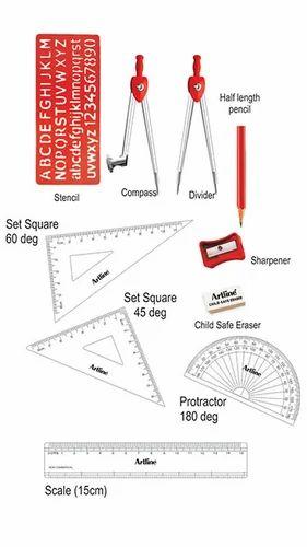 Artline Orange Osum Mathematical Drawing Instrument Box Id