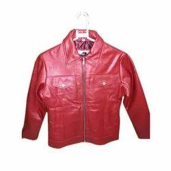 Full Sleeve Plain Ladies Red Leather Jacket