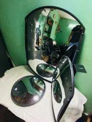 Agralic Glass Black Rear View Mirror, For HEMM, Vehicle Model: Mervm