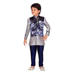 Boys Raw Silk Kids Party Wear Suit Set