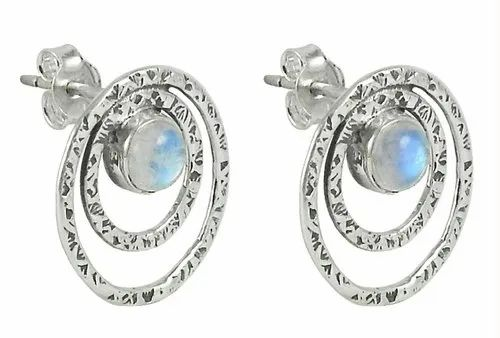 30bbd40a9a786 92.5 Sterling Silver Hammered Earrings With Rainbow Moonstone