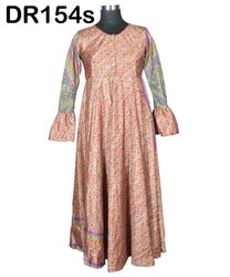 Vintage Recycled Saris Women's Long Maxi Dress DR154s