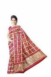 All Over Red Color Checks Design Gaji Silk Bandhani Saree