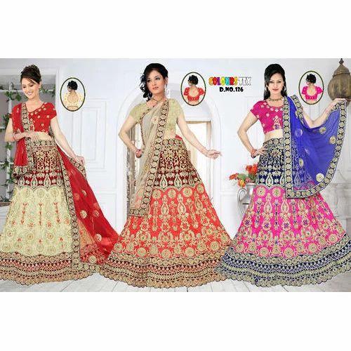 40967b7f4ea14 Semi-Stitched Colours Tex Bridal Lehenga Choli