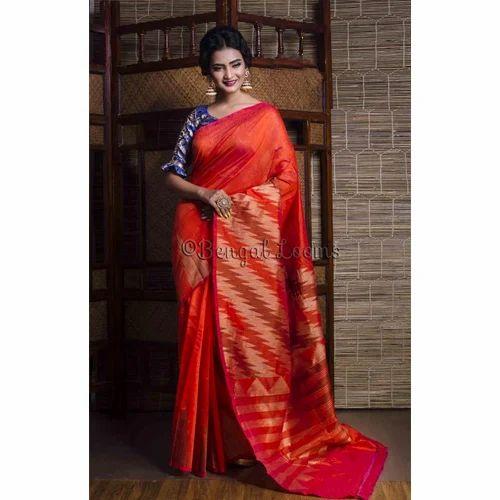 3ff8327b9f Jute Cotton Silk Banarasi Saree in Orange, जूट की कॉटन ...