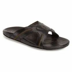 Pu Casual Mens Trendy Black Leather Sandals, Size: 6 To 9