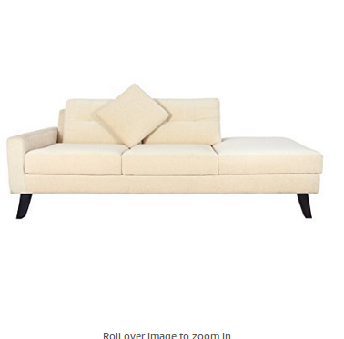 Modern Sofa Single Arm Rest And Angled Legs Off White