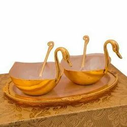 Silver & Gold Plated Brass Duck Shaped Bowl Set 5 Pcs.