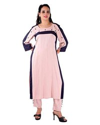 Rayon Pink, Blue Women Pink Boat Neck Pant Ladies Suit