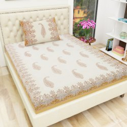 Cotton Printed Ethnic Motif Single Bedsheet with One Pillow Cover