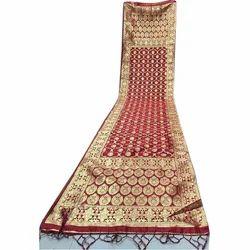 Ladies Silk Maroon Saree, Length: 6 m