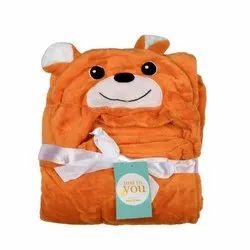 Baby Blanket With Hood Brown Bear