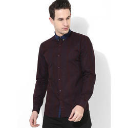 Mens Maroon Printed Shirt