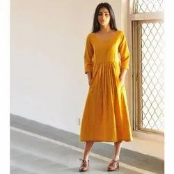 V-Neck Yellow Ladies Mustard Casual Long Dress