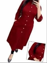 3/4th Sleeve Red Formal Kurtis, Wash Care: Handwash