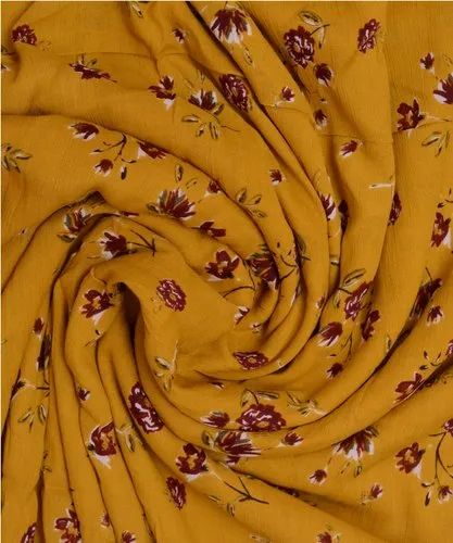 Yellow Maroon Flower Printed Cotton Crepe Fabric, 100-150 Gsm