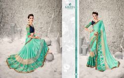 Excellent Sea Green Designer Half N Half Saree