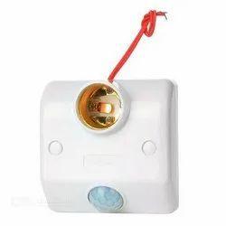 Plastic White PIR Motion Sensor Lamp Holder