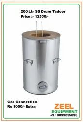 Stainless Steel Round 200 Ltr SS Drum Tandoor, For Restaurant, Capacity: 6 Roti At A Time