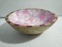 Wandcraft Exports Brown Wooden Enamel Print Salad Bowl