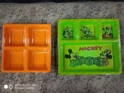 AI橙色和绿色儿童餐盘,包装类型:盒