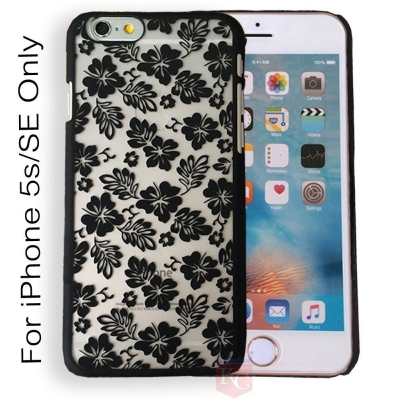 new product a29e4 568ae Flowery Vines Beautiful Flowers Case Semi Hard Transparent Back Cover  Iphone 5s Black