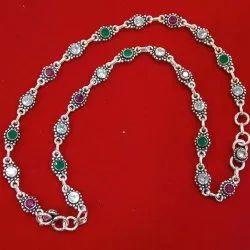 Crystal Sterling Silver Anklet