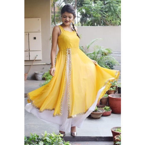 5130017ca8 Georgette Yellow & White Anarkali Palazzo Suit, Rs 2799 /piece | ID ...