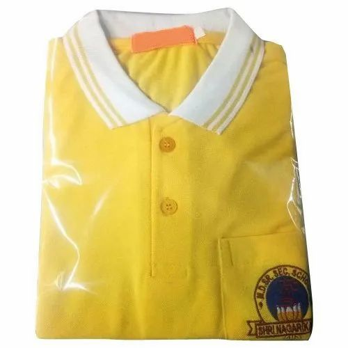 Half Sleeve Cotton School Polo T Shirts, Packaging Type: Packet