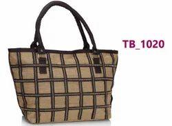 Brown Jute Check Pattern Ladies Hand Bag, Model Name/Number: Tb 1020