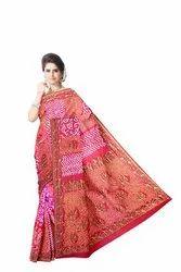 Red And Peach Color Banarasi Georgette Saree