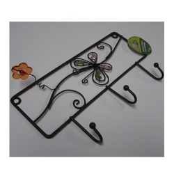 Metal Flower Wall Hanging 3 Hooks