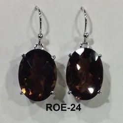925 Silver Smoky Quartz Stone Earring